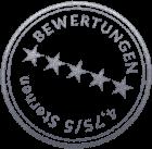 Bewertungen - 4,75/5 Sternen